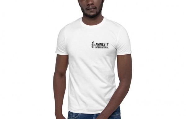 Weißes Herren T-Shirt mit schwarzen Amnesty International Logo